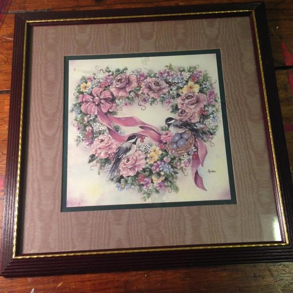 Framed Chickadee Flowers Heart Wreath Picture